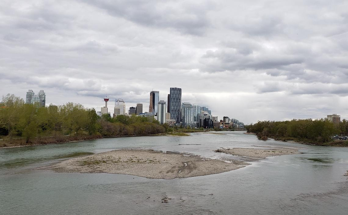 Looking westward at the City of Calgary and the Bow River in 2019