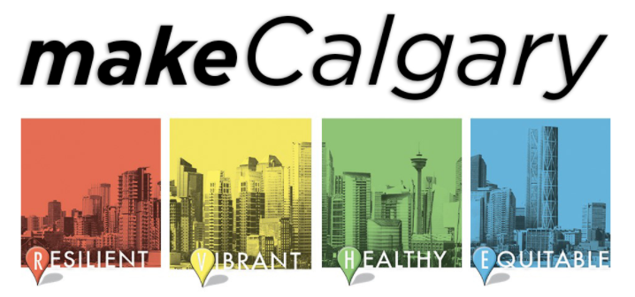 makeCalgary's four descriptors of healthy cities: resilient, healthy, vibrant, and equitable